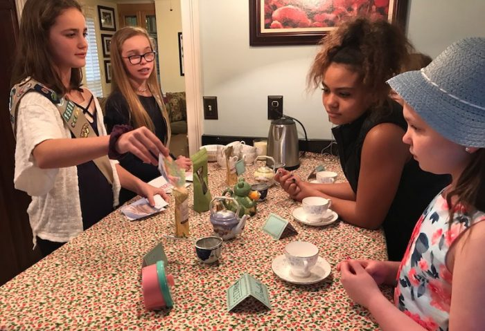 tea-brewing station at girl scout tea