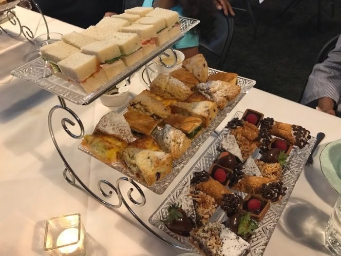 Three-tiered afternoon tea trays at Savannah Coffee Roasters
