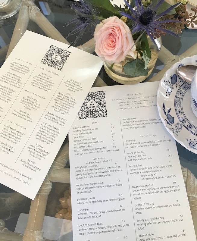 Tea menu at Ivy Tea House in Norcross, GA