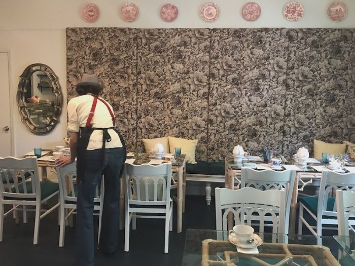 Upholstered wall in Ivy Tea House
