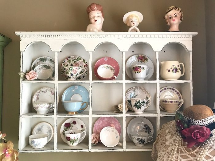 teacup and saucer collection at A Southern Cup in Hendersonville, NC