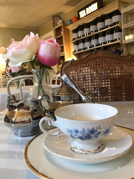 pretty teacup and silver creamer set at A Southern Cup in Hendersonville, NC