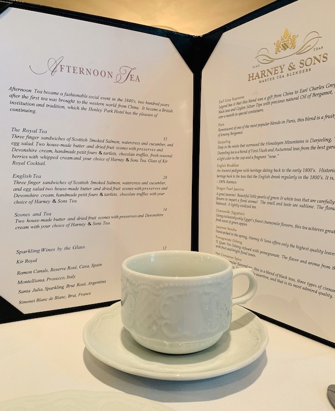 afternoon tea menu at Henley Park Hotel in Washington, DC