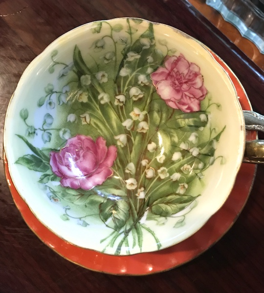 Gorgeous teacup at Ivory Road Cafe & Kitchen afternoon tea in Arden, NC