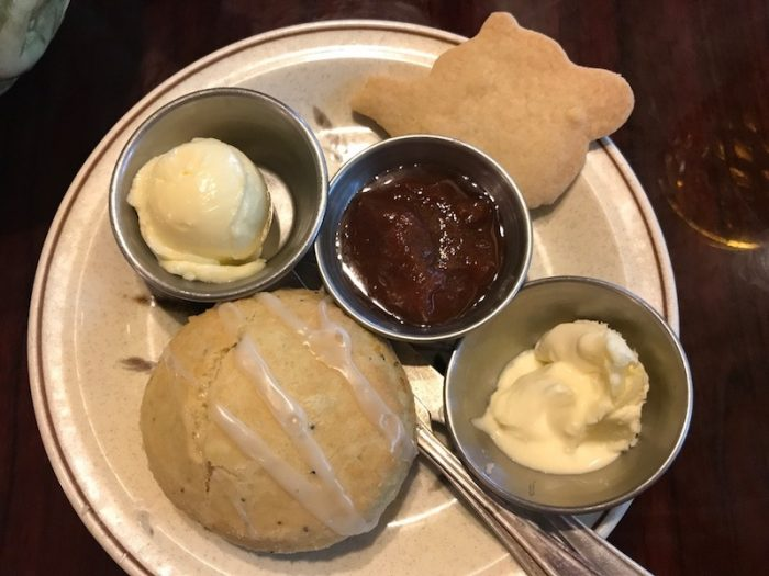 Scone and teapot cookie at afternoon tea at Ivory Road Cafe & Kitchen in Arden, NC