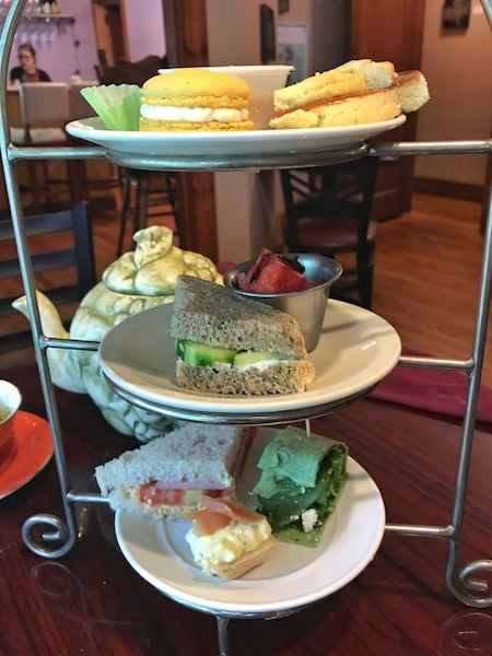 Three-tiered tea curate at afternoon tea at Ivory Road Cafe & Kitchen