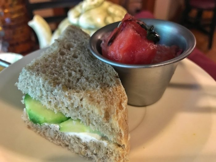 Cucumber sandwich and watermelon salad at afternoon tea at Ivory Road Cafe & Kitchen in Arden, NC