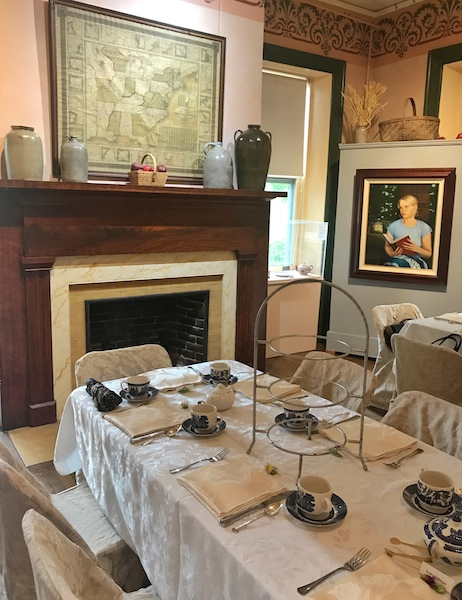 white linen tables set for afternoon tea in the Smith-McDowell House Museum
