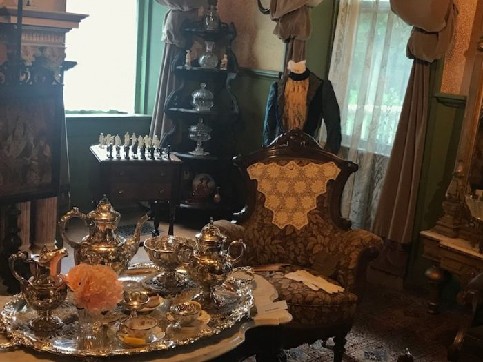 silver set in the parlor of Smith-McDowell House Museum