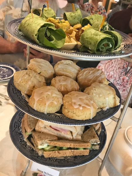 Three-tier tray at afternoon tea at Smith-McDowell House Museum