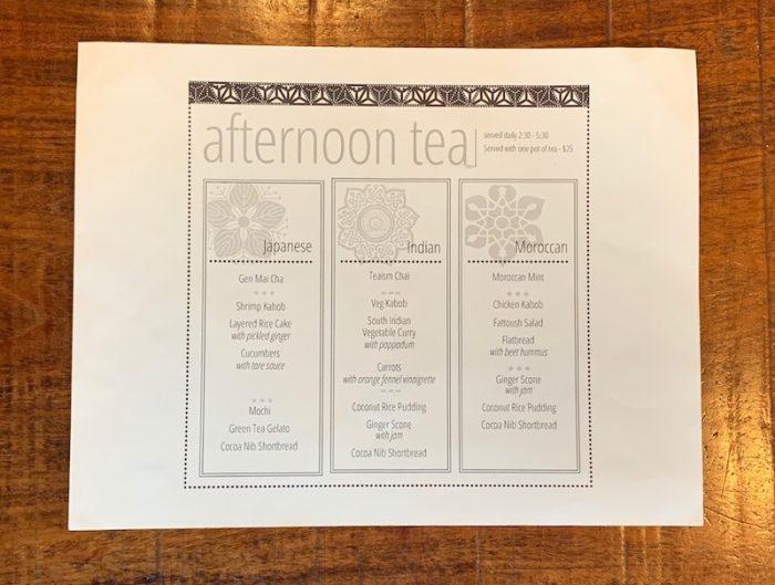 afternoon tea menus at Teaism Penn Quarter in Washington, DC