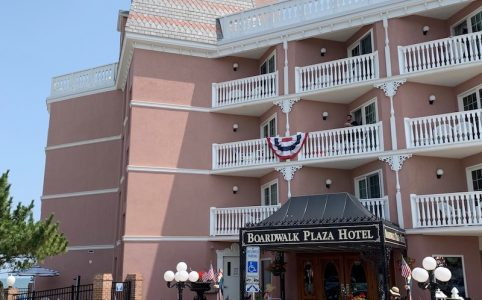 exterior afternoon tea at Boardwalk Plaza Hotel in Rehoboth Beach, DE