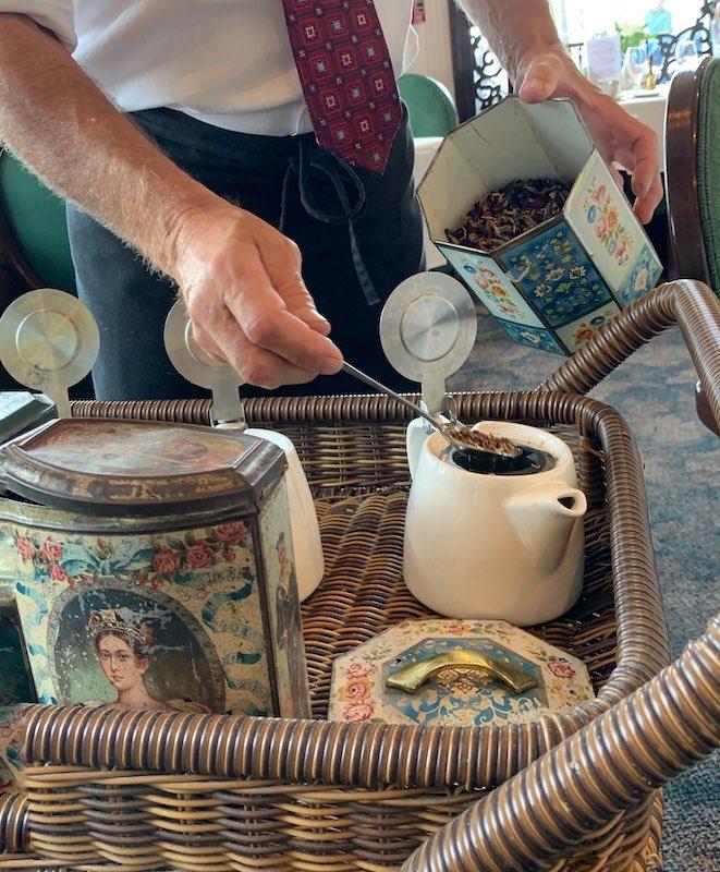 Tea Mother prepares teapots at Boardwalk Plaza Hotel in Rehoboth Beach, DE