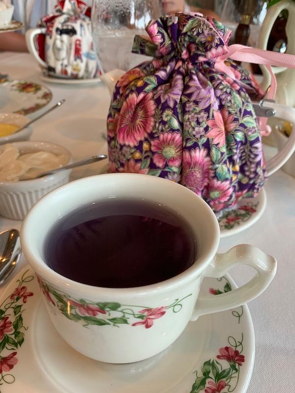 Teapot cozies and purple tea at Boardwalk Plaza Hotel in Rehoboth Beach, DE