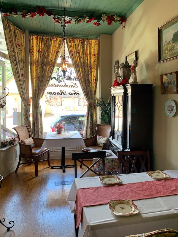 Front window seating at The Main Street Enchanted Tea Room in Berlin, Maryland tearoom