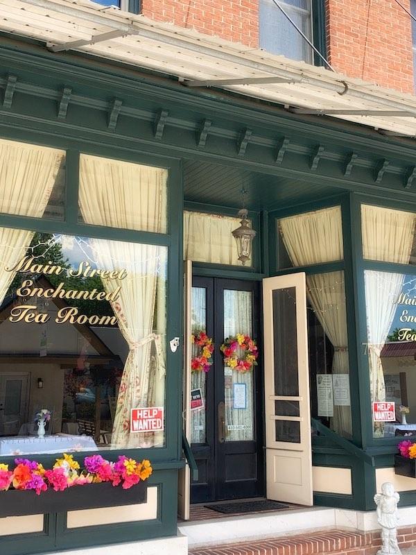 exterior Main Street Enchanted Tea Room in Berlin, Maryland tearoom
