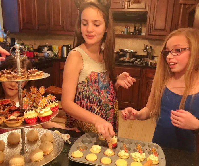 middle schoolers preparing afternoon tea