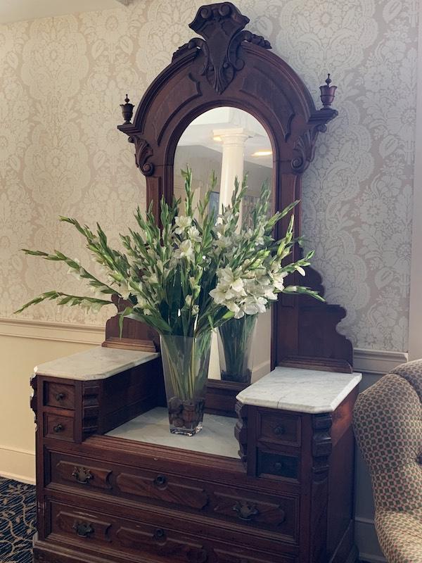 antique vanity at Dunes Manor Hotel in Ocean City, MD