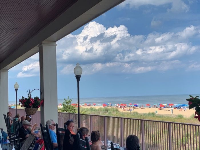 sipping tea on the back deck at Dunes Manor Hotel in Ocean City, MD