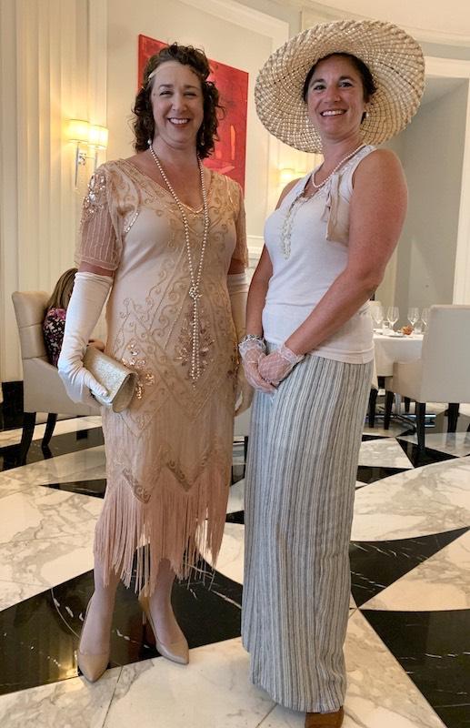 At Downton Abbey Afternoon tea in costumer at Waldorf Astoria Atlanta Buckhead
