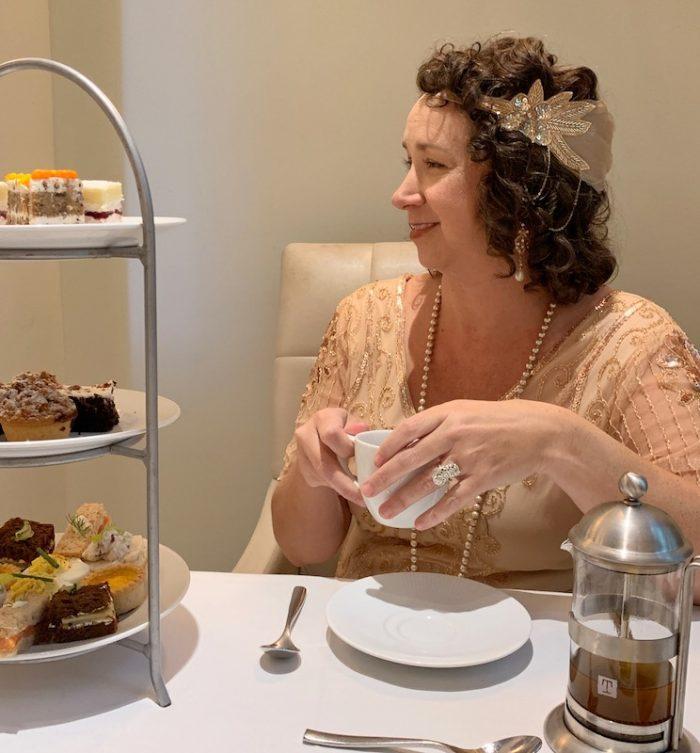 Lady Kim at afternoon tea at Waldorf Astoria Atlanta Buckhead in Atlanta, GA