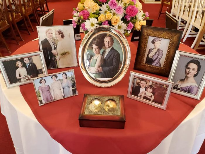 Love this idea - table of Crawley family photos [Photo Credit:  Sweet Peas Tea Room - Battle Ground, WA]
