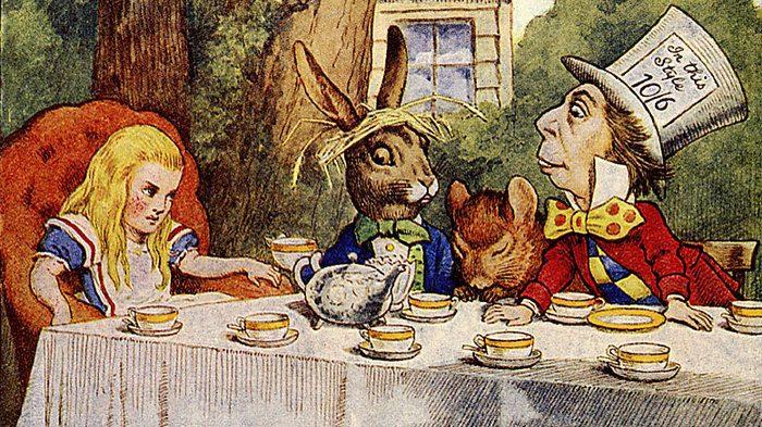 John Tenniel's illustration of Alice's tea party from Alice's Adventures in Wonderland