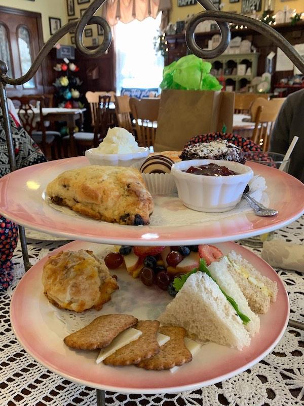 three-tiered tea tray at Burdett's Tea Shop and Trading Company in Springfield, TN