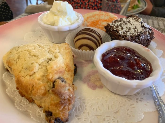 scones and desserts at afternoon tea at Burdett's Tea Shop and Trading Company in Springfield, TN