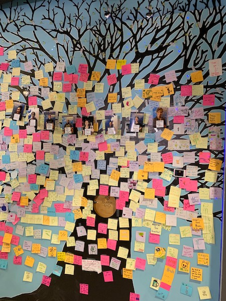 post-it positivity wall at Bubble & Co. Tea Bar afternoon tea
