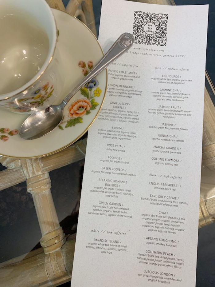 Fall 2019 tea menu at Ivy Tea House in Norcross, GA