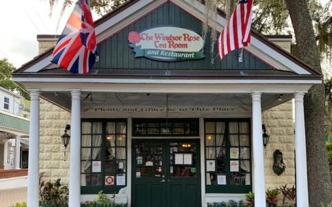 exterior Windsor Rose Tea Room & Restaurant for afternoon tea in Mount Dora, FL