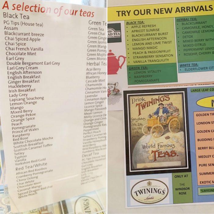 Tea list at Windsor Rose Tea Room & Restaurant for afternoon tea in Mount Dora, FL
