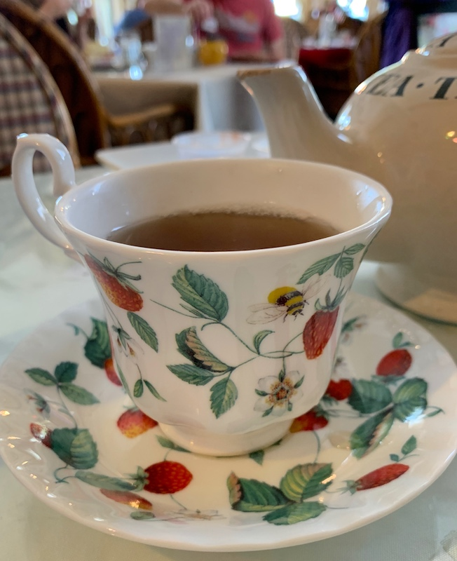 Pretty teacup at Windsor Rose Tea Room & Restaurant for afternoon tea in Mount Dora, FL