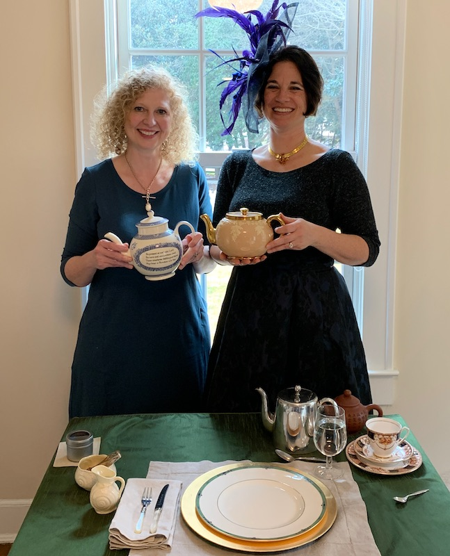 Judith McCloughlin and Angela Renals at Afternoon Tea at Donaldson-Bannister Farm in Dunwoody, Georgia