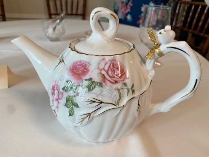 pretty teapot at Afternoon Tea at Donaldson-Bannister Farm in Dunwoody, Georgia