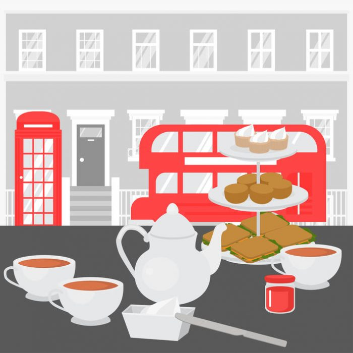 Afternoon Tea party in London, Tray with Home baked scones, sandwiches and supcakes. Devonshire cream tea in british cafe. Red tourist double decker sightseeing bus and phone booth