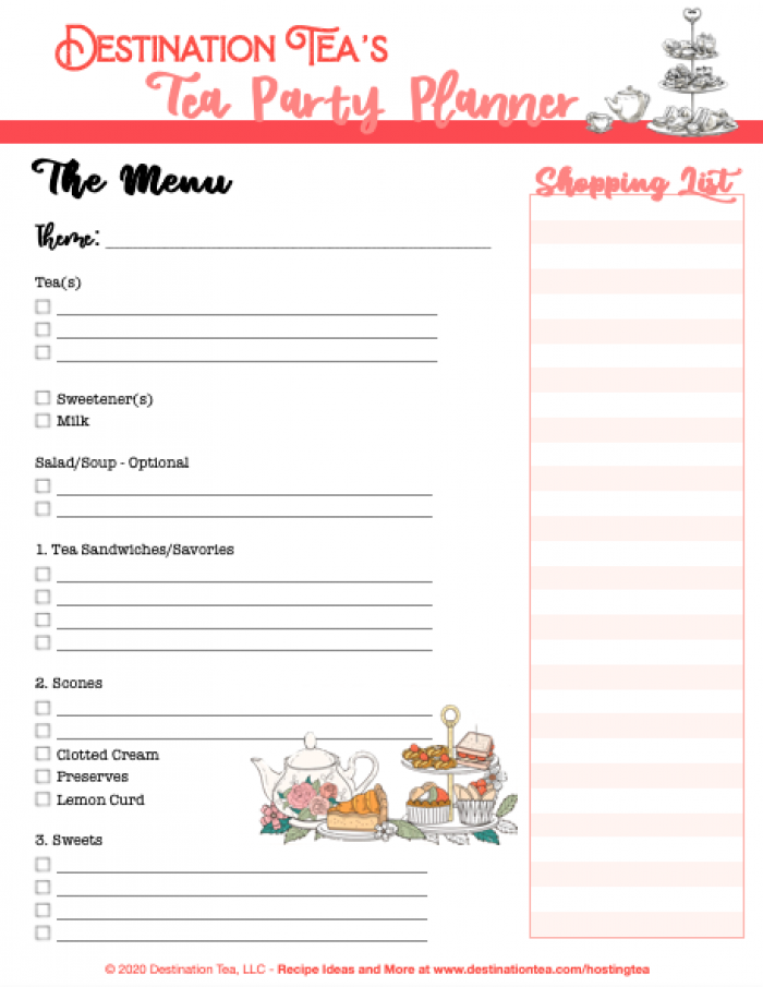 Destination Tea's Tea Party Planner with shopping list for afternoon tea