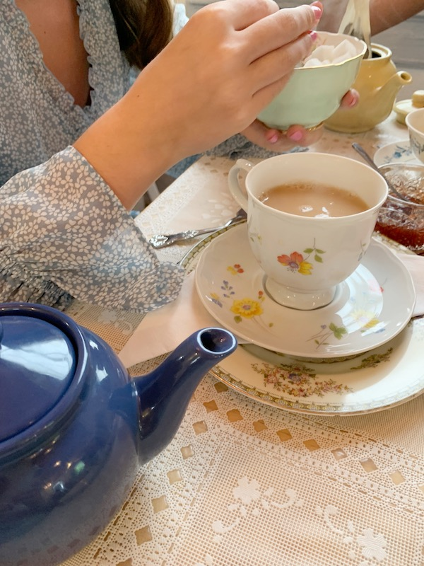 drinking tea at Afternoon tea at The Olde English Creamery in historic Pensacola, FL