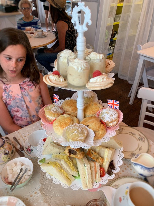 three-tiered tea tray at Afternoon tea at The Olde English Creamery in historic Pensacola, FL