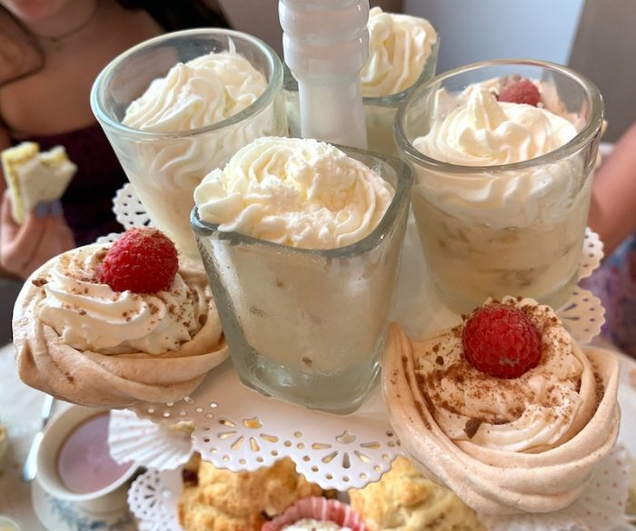 gooseberry pudding and pavlovas at Afternoon tea at The Olde English Creamery in historic Pensacola, FL
