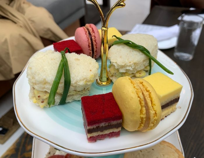 egg salad sandwiches and desserts at afternoon tea at Château Élan in Braselton, GA