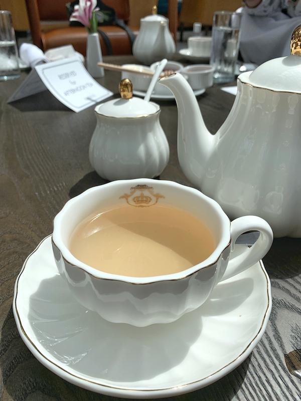 silver needle tea at afternoon tea at Château Élan in Braselton, GA