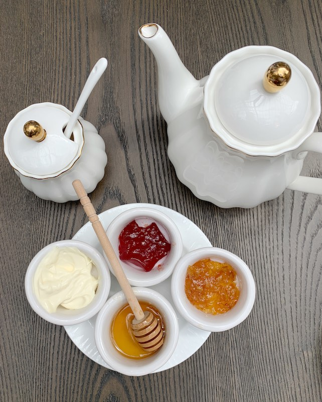 clotted cream and spreads at afternoon tea at Château Élan in Braselton, GA