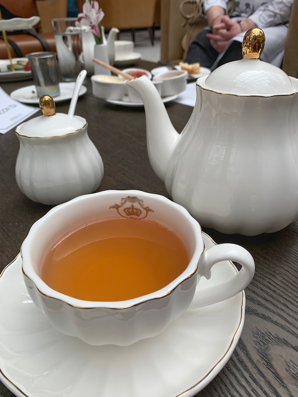 longer steeped tea at afternoon tea at Château Élan in Braselton, GA