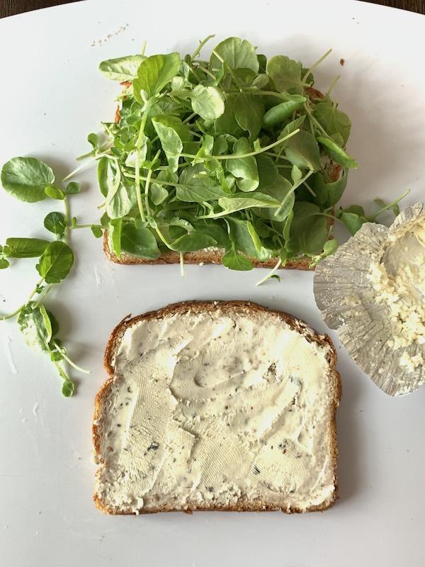 watercress and Boursin sandwich