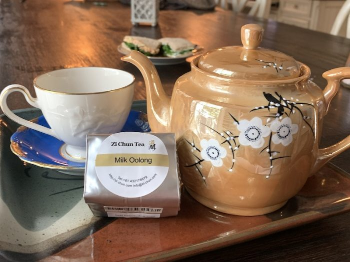 Zi Chun Teas on the tea tray for the Thistle Farms Virtual Tea Party, Tea and Justice