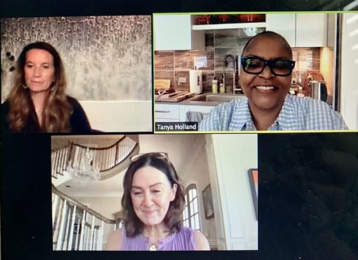 Becca Stevens, Tanya Holland and Fiona Prine discuss tea and justice on a virtual tea party