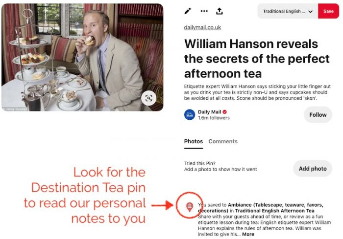 Destination Tea's icon will show you where we made special notes to you about our pinned suggestions.