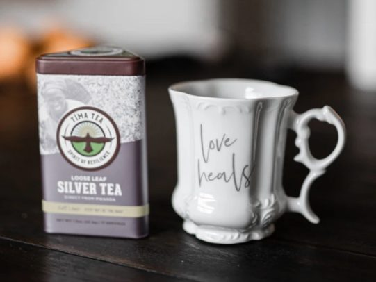 "fair trade teas and ""Love Heals"" teacup from Thistle Farms"